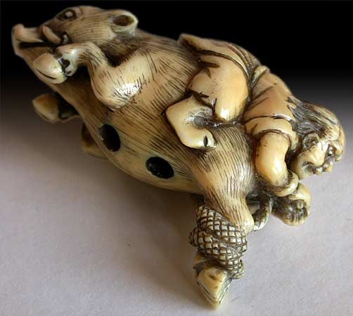 Tadatsune on Boar Netsuke