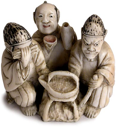 Three Noblemen Netsuke