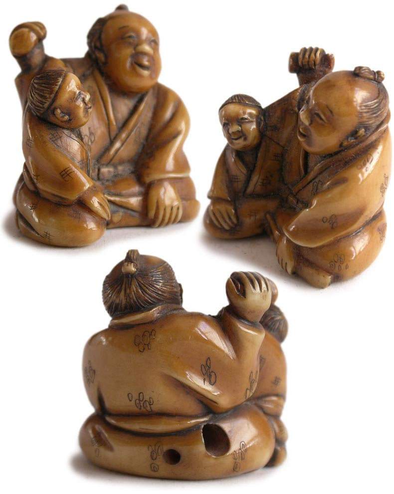 Father Son Playing Rattle Netsuke