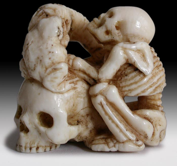 Skeleton with Frog Netsuke
