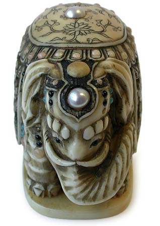 Masaharu Jeweled Elephant Netsuke