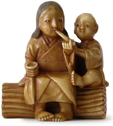 Smoking Mother and Child Netsuke