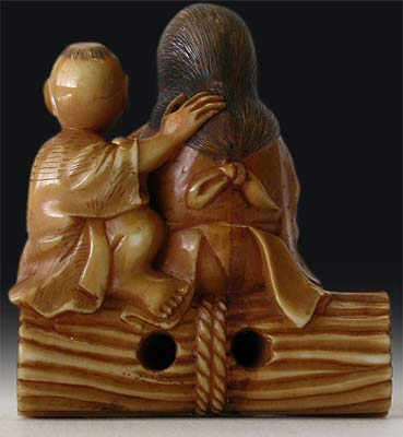 Smoking Mother and Child Netsuke back