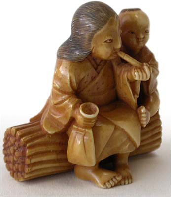 Smoking Mother and Child Netsuke rt