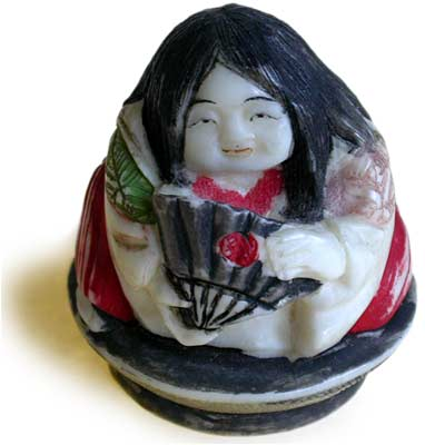 Polychrome Girl on Saki Cup Netsuke