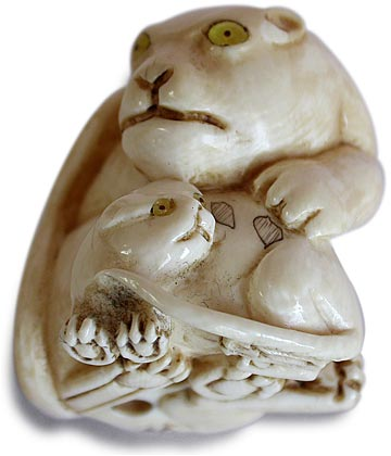 Tigress and Cub Netsuke Bottom