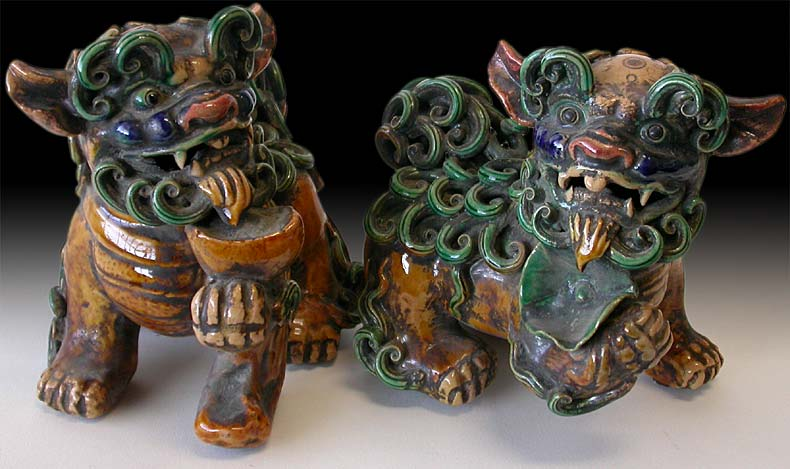 Sancai Foo Dog Pair