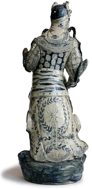 Ming Blue and White Ceramic Statue