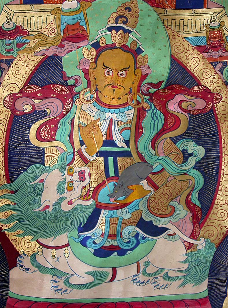 Yellow Jambhala on Lion Thangka