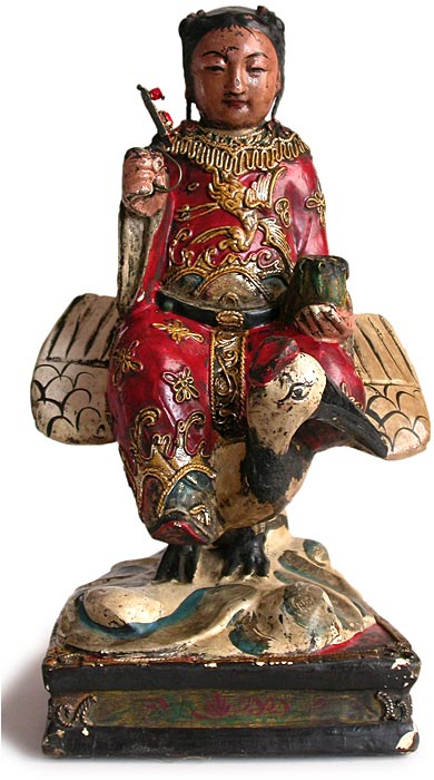 Taoist on Crane Wood Statue