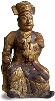 Mongol Effigy Wood Statue