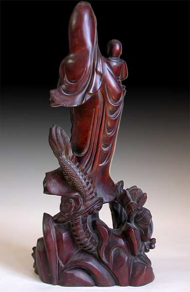 Guan Yin and Child on Dragon back view