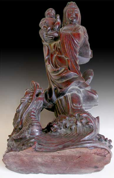 Guan Yin and Child on Dragon