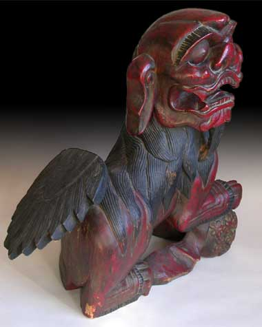 Lacquered Wood Foo Dog rt